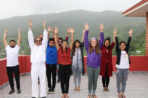 Guru and students Yoga