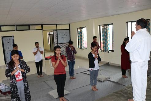 Yoga in yoga hall