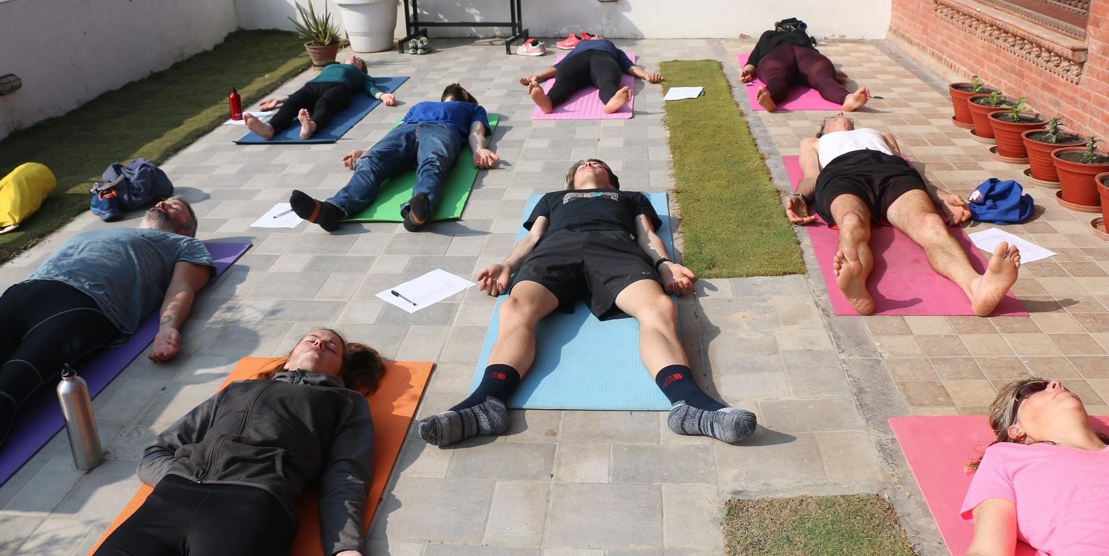 Performing Savasana Yoga